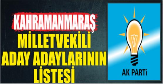 AK PARTİ KAHRAMANMARAŞ'TAN MÜRACAAT EDENLERİN LİSTESİ